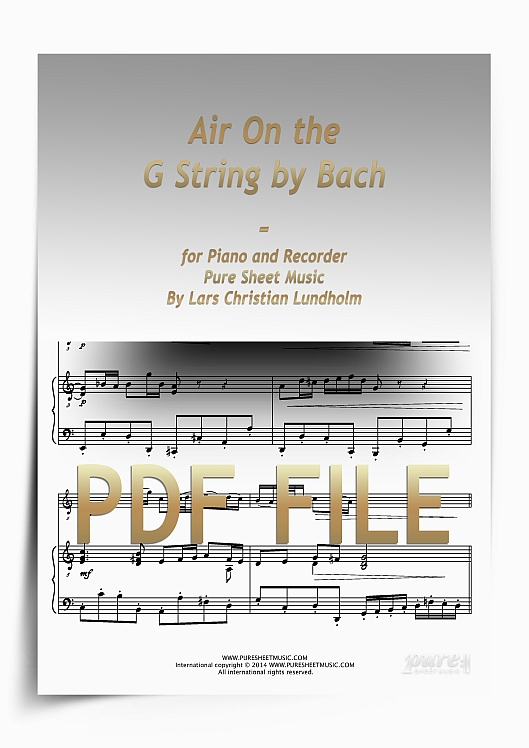 Thumbnail Air On the G String by Bach for Piano and Recorder (PDF file), Pure Sheet Music arranged by Lars Christian Lundholm