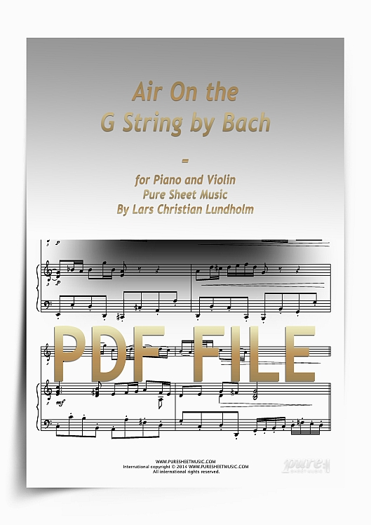 Thumbnail Air On the G String by Bach for Piano and Violin (PDF file), Pure Sheet Music arranged by Lars Christian Lundholm