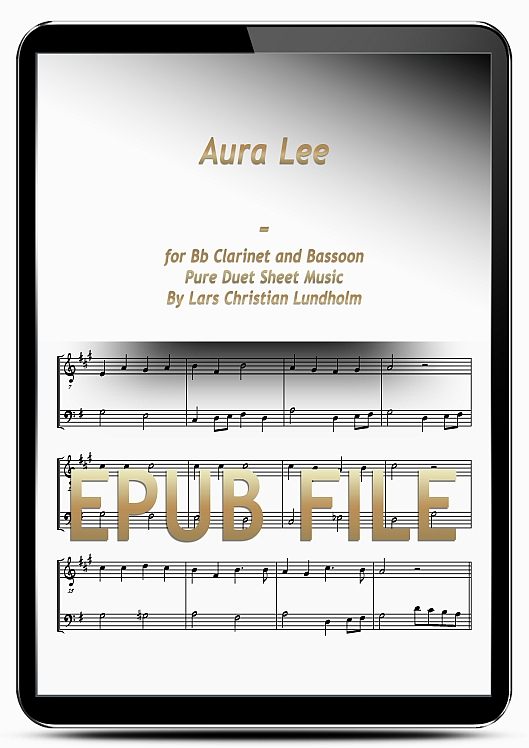 Thumbnail Aura Lee for Bb Clarinet and Bassoon (EPUB file), Pure Sheet Music as Ebook arranged by Lars Christian Lundholm