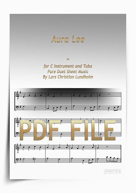 Thumbnail Aura Lee for C Instrument and Tuba (PDF file), Pure Sheet Music arranged by Lars Christian Lundholm