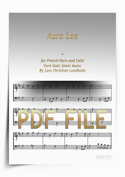 Thumbnail Aura Lee for French Horn and Cello (PDF file), Pure Sheet Music arranged by Lars Christian Lundholm