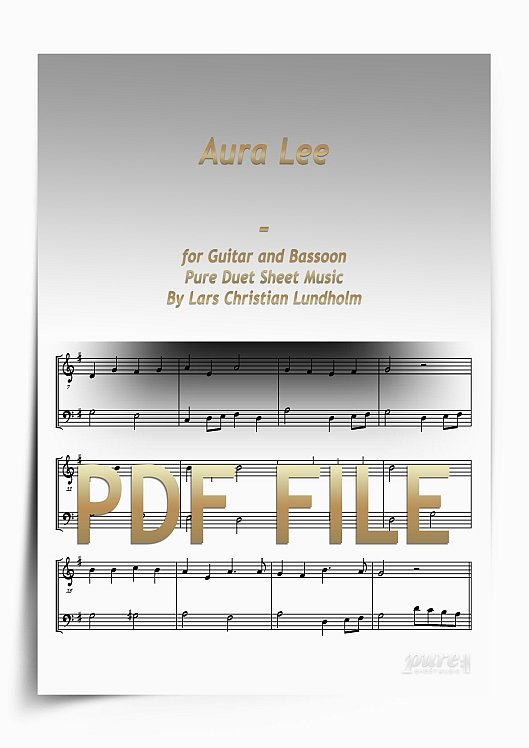 Thumbnail Aura Lee for Guitar and Bassoon (PDF file), Pure Sheet Music arranged by Lars Christian Lundholm