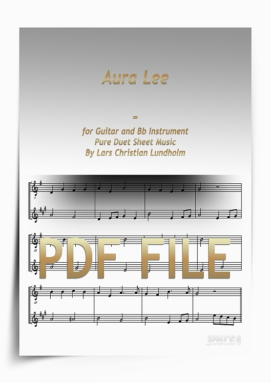 Thumbnail Aura Lee for Guitar and Bb Instrument (PDF file), Pure Sheet Music arranged by Lars Christian Lundholm