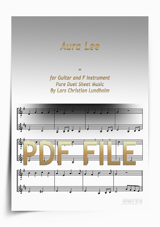 Thumbnail Aura Lee for Guitar and F Instrument (PDF file), Pure Sheet Music arranged by Lars Christian Lundholm