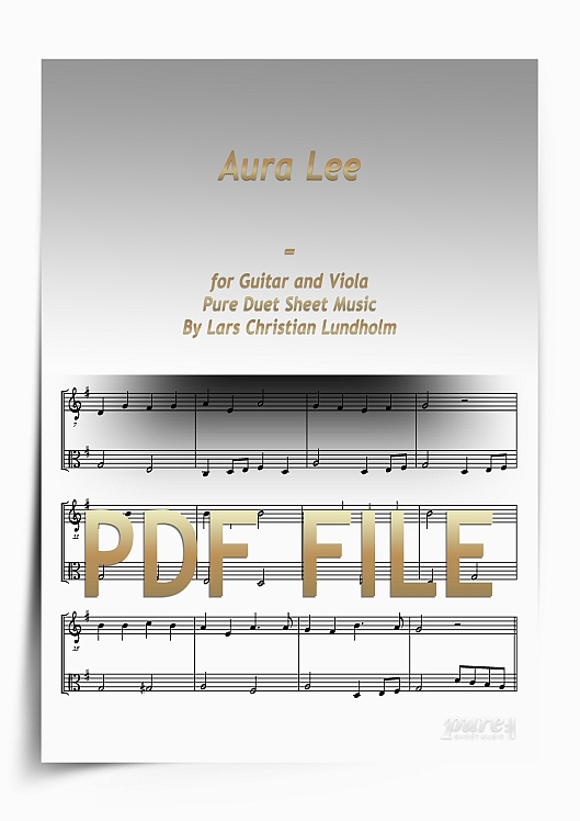 Thumbnail Aura Lee for Guitar and Viola (PDF file), Pure Sheet Music arranged by Lars Christian Lundholm