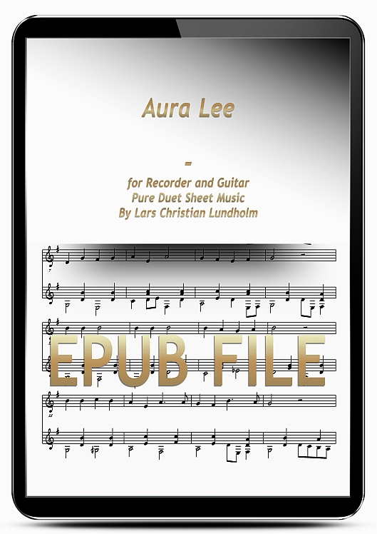 Thumbnail Aura Lee for Recorder and Guitar (EPUB file), Pure Sheet Music as Ebook arranged by Lars Christian Lundholm