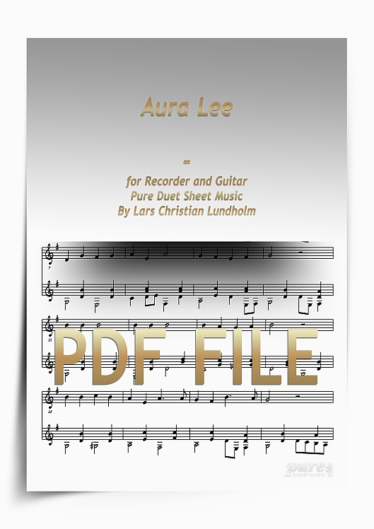 Thumbnail Aura Lee for Recorder and Guitar (PDF file), Pure Sheet Music arranged by Lars Christian Lundholm