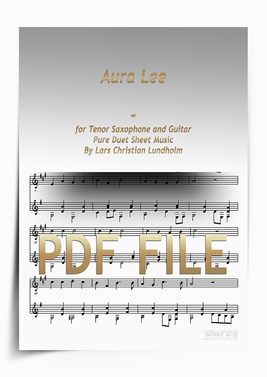 Thumbnail Aura Lee for Tenor Saxophone and Guitar (PDF file), Pure Sheet Music arranged by Lars Christian Lundholm