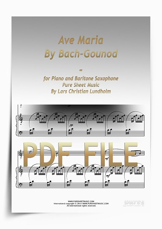 Thumbnail Ave Maria By Bach-Gounod for Piano and Baritone Saxophone (PDF file), Pure Sheet Music arranged by Lars Christian Lundholm
