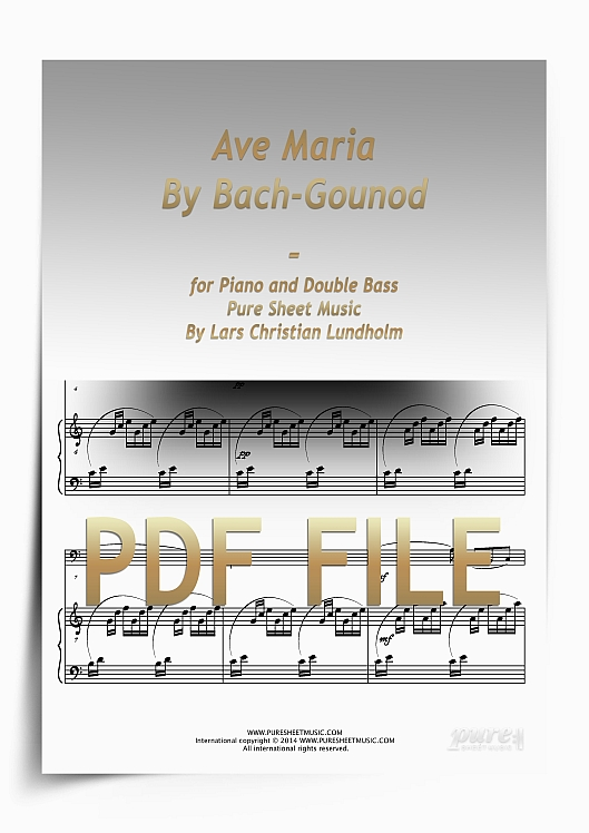 Thumbnail Ave Maria By Bach-Gounod for Piano and Double Bass (PDF file), Pure Sheet Music arranged by Lars Christian Lundholm