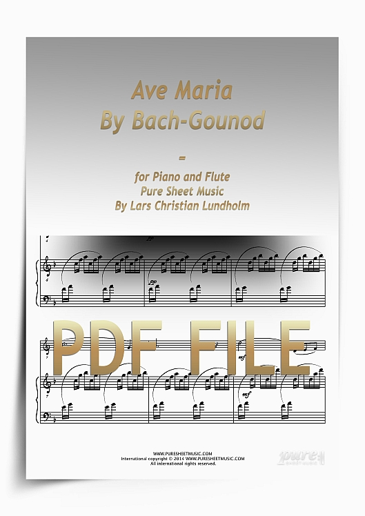 Thumbnail Ave Maria By Bach-Gounod for Piano and Flute (PDF file), Pure Sheet Music arranged by Lars Christian Lundholm
