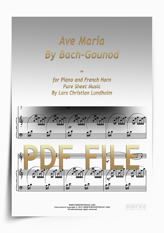 Thumbnail Ave Maria By Bach-Gounod for Piano and French Horn (PDF file), Pure Sheet Music arranged by Lars Christian Lundholm