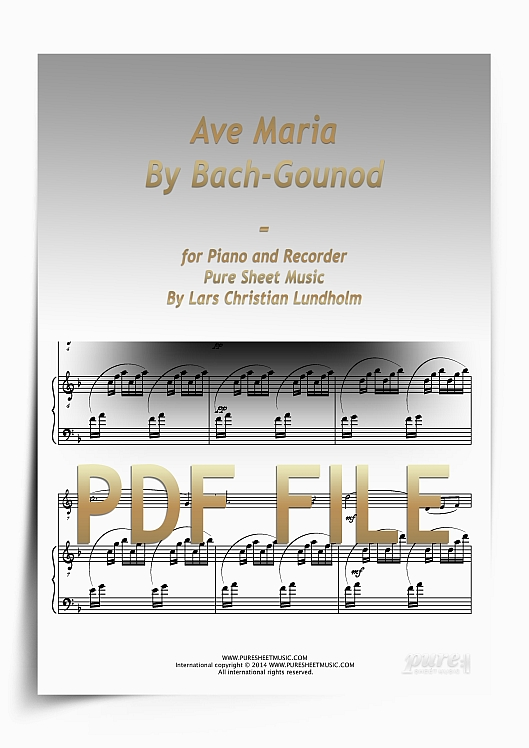 Thumbnail Ave Maria By Bach-Gounod for Piano and Recorder (PDF file), Pure Sheet Music arranged by Lars Christian Lundholm