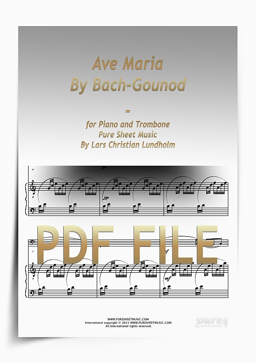 Thumbnail Ave Maria By Bach-Gounod for Piano and Trombone (PDF file), Pure Sheet Music arranged by Lars Christian Lundholm