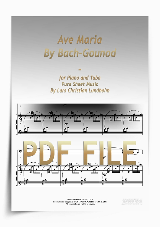 Thumbnail Ave Maria By Bach-Gounod for Piano and Tuba (PDF file), Pure Sheet Music arranged by Lars Christian Lundholm