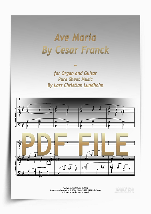 Thumbnail Ave Maria By Cesar Franck for Organ and Guitar (PDF file), Pure Sheet Music arranged by Lars Christian Lundholm