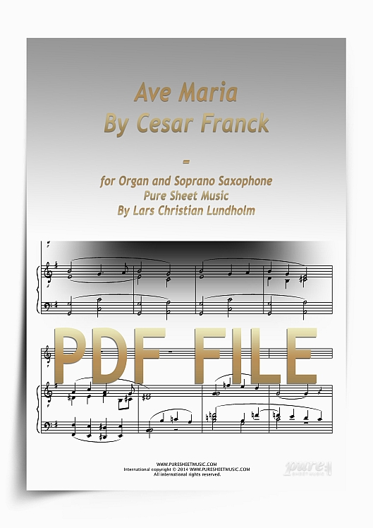 Thumbnail Ave Maria By Cesar Franck for Organ and Soprano Saxophone (PDF file), Pure Sheet Music arranged by Lars Christian Lundholm