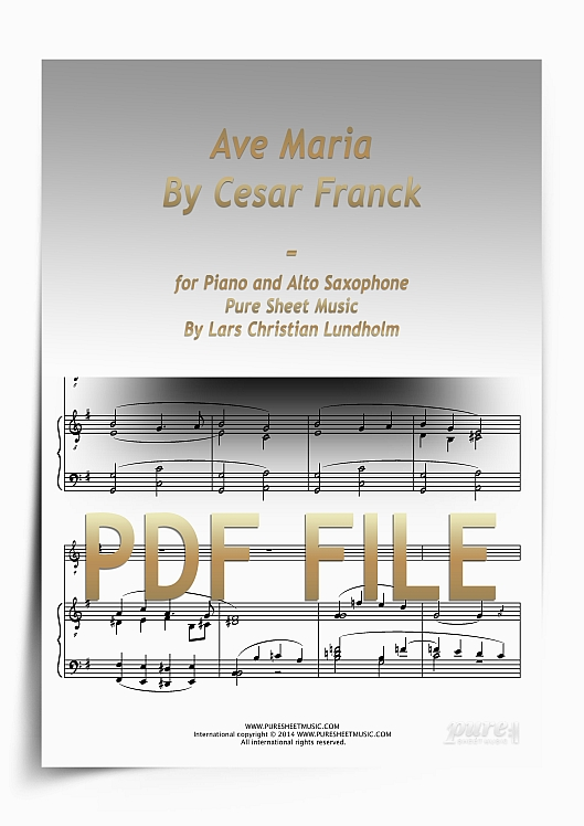 Thumbnail Ave Maria By Cesar Franck for Piano and Alto Saxophone (PDF file), Pure Sheet Music arranged by Lars Christian Lundholm