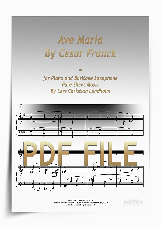 Thumbnail Ave Maria By Cesar Franck for Piano and Baritone Saxophone (PDF file), Pure Sheet Music arranged by Lars Christian Lundholm