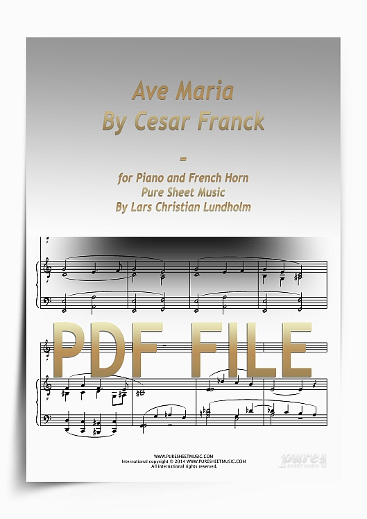 Thumbnail Ave Maria By Cesar Franck for Piano and French Horn (PDF file), Pure Sheet Music arranged by Lars Christian Lundholm