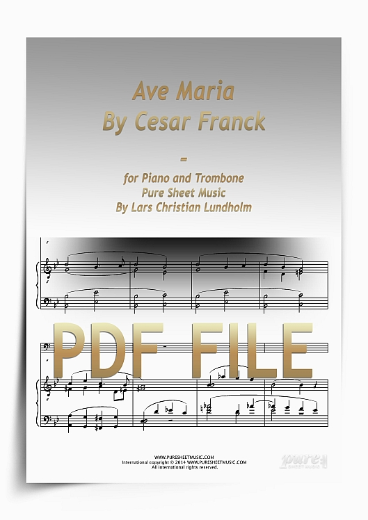 Thumbnail Ave Maria By Cesar Franck for Piano and Trombone (PDF file), Pure Sheet Music arranged by Lars Christian Lundholm