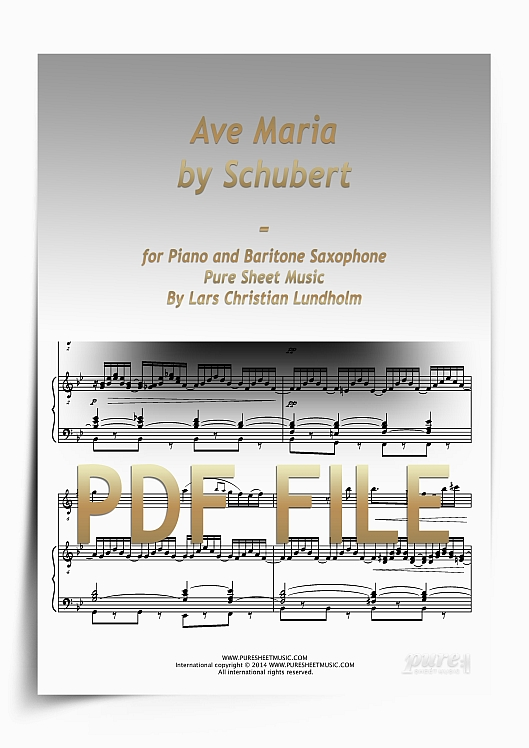 Thumbnail Ave Maria by Schubert for Piano and Baritone Saxophone (PDF file), Pure Sheet Music arranged by Lars Christian Lundholm