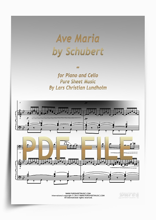 Thumbnail Ave Maria by Schubert for Piano and Cello (PDF file), Pure Sheet Music arranged by Lars Christian Lundholm