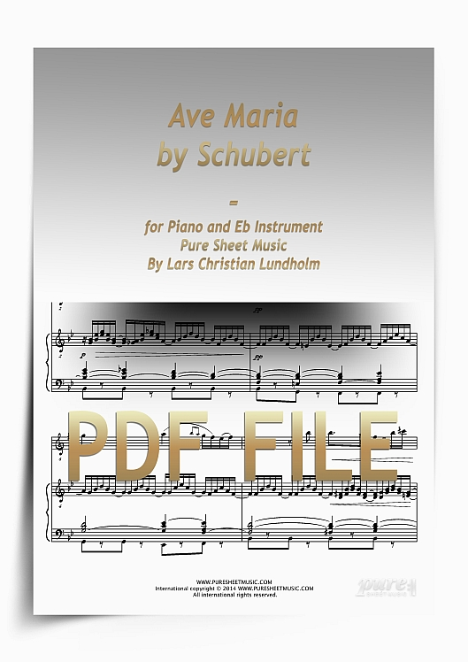 Thumbnail Ave Maria by Schubert for Piano and Eb Instrument (PDF file), Pure Sheet Music arranged by Lars Christian Lundholm