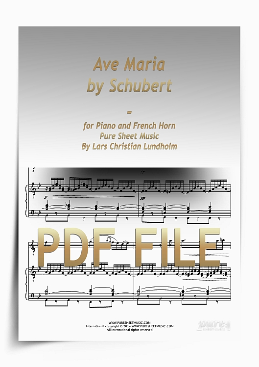 Thumbnail Ave Maria by Schubert for Piano and French Horn (PDF file), Pure Sheet Music arranged by Lars Christian Lundholm