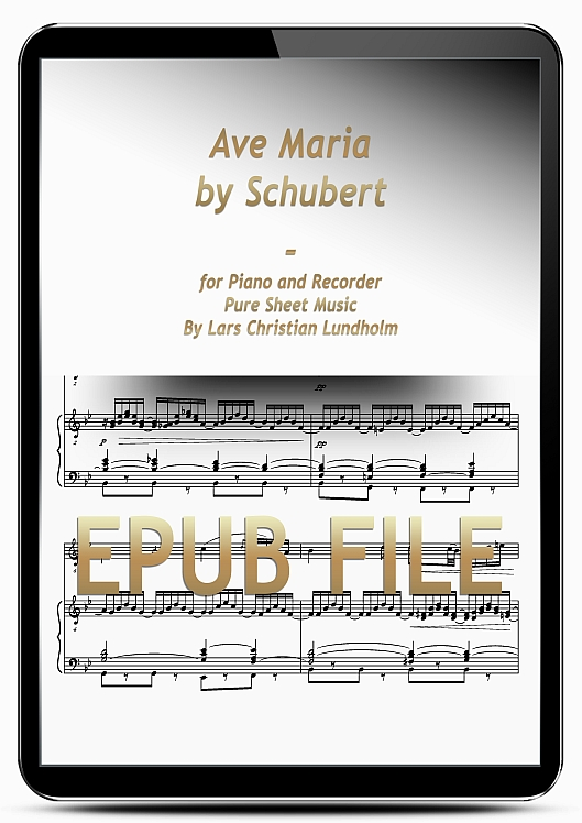 Thumbnail Ave Maria by Schubert for Piano and Recorder (EPUB file), Pure Sheet Music as Ebook arranged by Lars Christian Lundholm