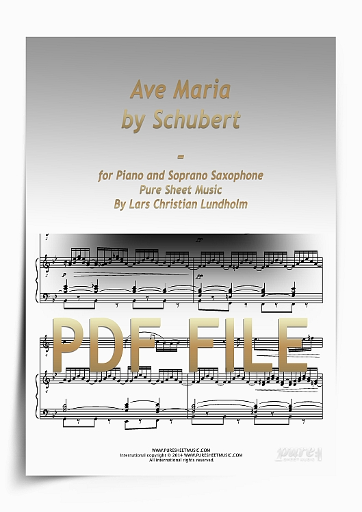 Thumbnail Ave Maria by Schubert for Piano and Soprano Saxophone (PDF file), Pure Sheet Music arranged by Lars Christian Lundholm