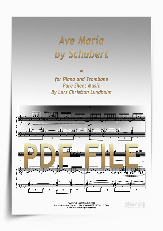 Thumbnail Ave Maria by Schubert for Piano and Trombone (PDF file), Pure Sheet Music arranged by Lars Christian Lundholm