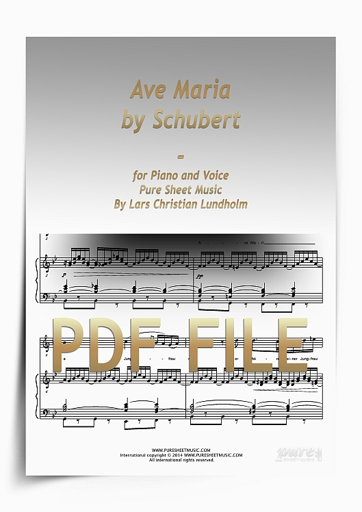 Thumbnail Ave Maria by Schubert for Piano and Voice (PDF file), Pure Sheet Music arranged by Lars Christian Lundholm