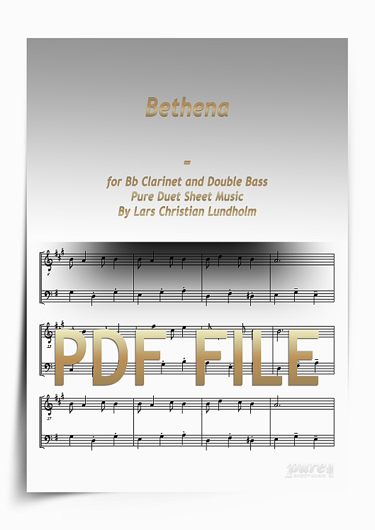 Thumbnail Bethena for Bb Clarinet and Double Bass (PDF file), Pure Sheet Music arranged by Lars Christian Lundholm