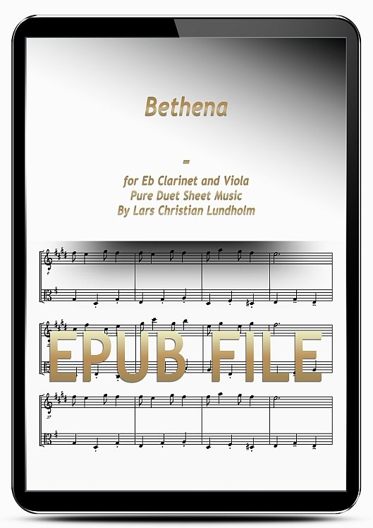 Thumbnail Bethena for Eb Clarinet and Viola (EPUB file), Pure Sheet Music as Ebook arranged by Lars Christian Lundholm