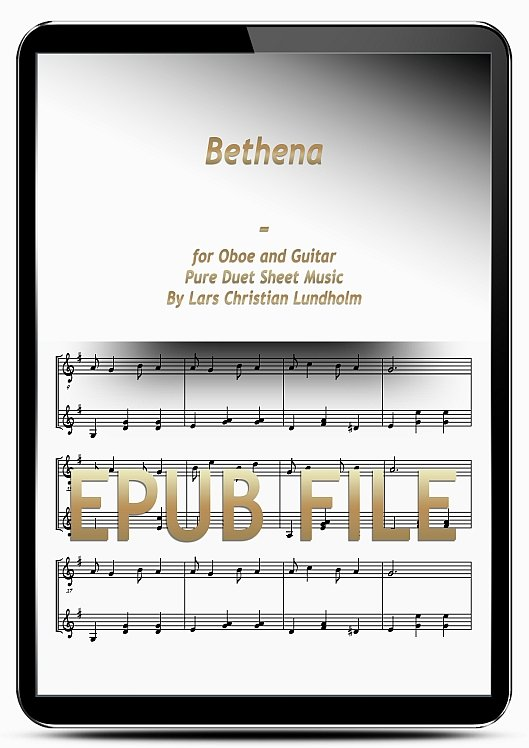 Thumbnail Bethena for Oboe and Guitar (EPUB file), Pure Sheet Music as Ebook arranged by Lars Christian Lundholm