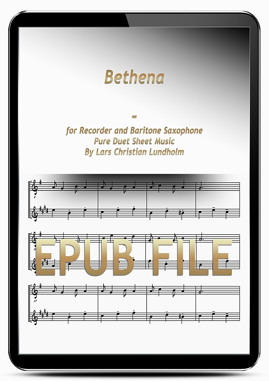 Thumbnail Bethena for Recorder and Baritone Saxophone (EPUB file), Pure Sheet Music as Ebook arranged by Lars Christian Lundholm