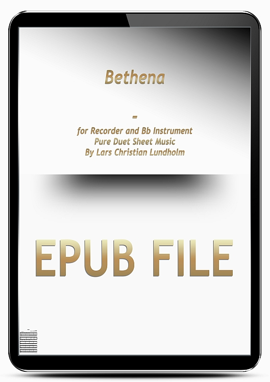 Thumbnail Bethena for Recorder and Bb Instrument (EPUB file), Pure Sheet Music as Ebook arranged by Lars Christian Lundholm