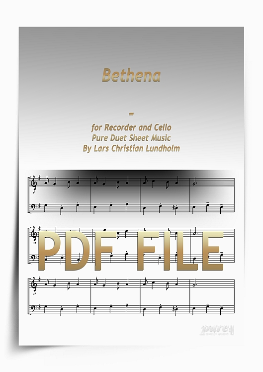 Thumbnail Bethena for Recorder and Cello (PDF file), Pure Sheet Music arranged by Lars Christian Lundholm