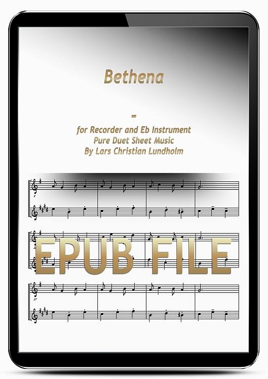 Thumbnail Bethena for Recorder and Eb Instrument (EPUB file), Pure Sheet Music as Ebook arranged by Lars Christian Lundholm