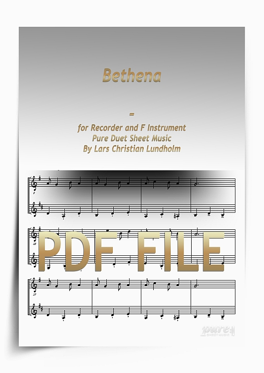 Thumbnail Bethena for Recorder and F Instrument (PDF file), Pure Sheet Music arranged by Lars Christian Lundholm