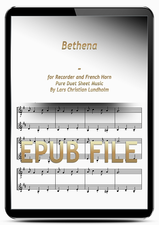 Thumbnail Bethena for Recorder and French Horn (EPUB file), Pure Sheet Music as Ebook arranged by Lars Christian Lundholm