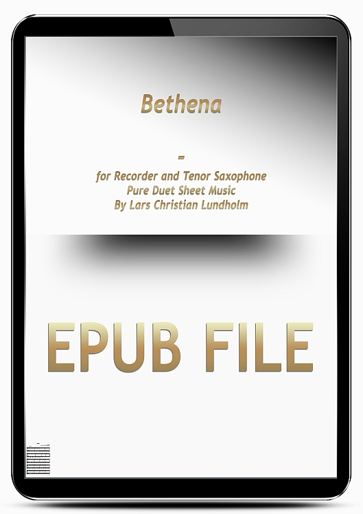 Thumbnail Bethena for Recorder and Tenor Saxophone (EPUB file), Pure Sheet Music as Ebook arranged by Lars Christian Lundholm