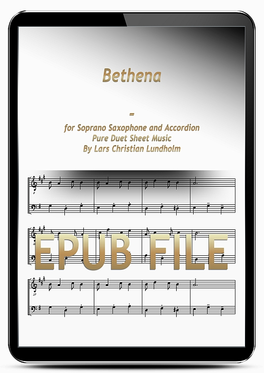 Thumbnail Bethena for Soprano Saxophone and Accordion (EPUB file), Pure Sheet Music as Ebook arranged by Lars Christian Lundholm