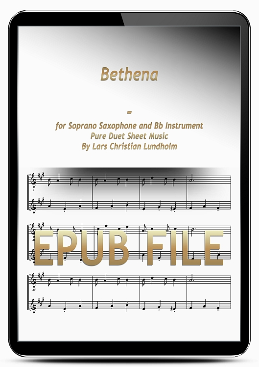 Thumbnail Bethena for Soprano Saxophone and Bb Instrument (EPUB file), Pure Sheet Music as Ebook arranged by Lars Christian Lundholm