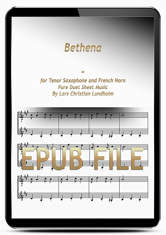 Thumbnail Bethena for Tenor Saxophone and French Horn (EPUB file), Pure Sheet Music as Ebook arranged by Lars Christian Lundholm