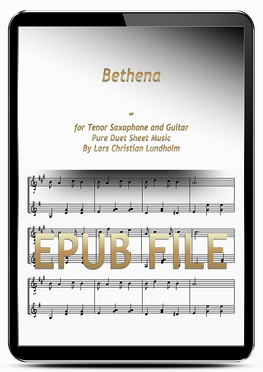 Thumbnail Bethena for Tenor Saxophone and Guitar (EPUB file), Pure Sheet Music as Ebook arranged by Lars Christian Lundholm