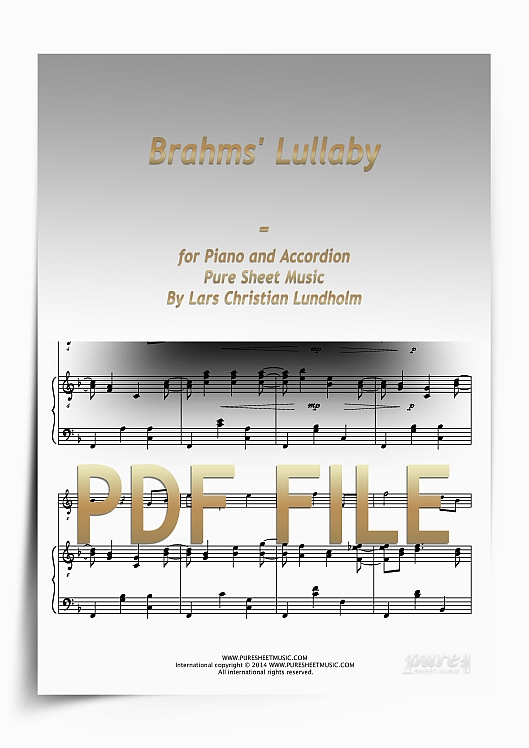 Thumbnail Brahms' Lullaby for Piano and Accordion (PDF file), Pure Sheet Music arranged by Lars Christian Lundholm