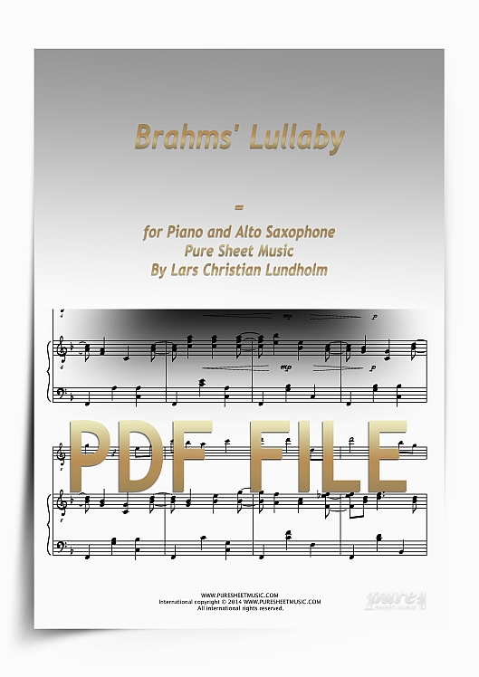 Thumbnail Brahms' Lullaby for Piano and Alto Saxophone (PDF file), Pure Sheet Music arranged by Lars Christian Lundholm