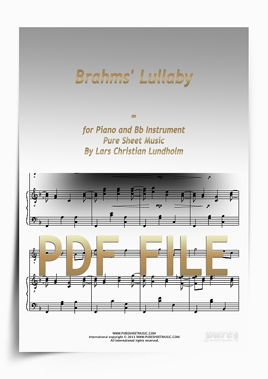 Thumbnail Brahms' Lullaby for Piano and Bb Instrument (PDF file), Pure Sheet Music arranged by Lars Christian Lundholm